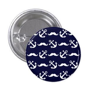 Het patroon van de snor en van het anker ronde button 3,2 cm