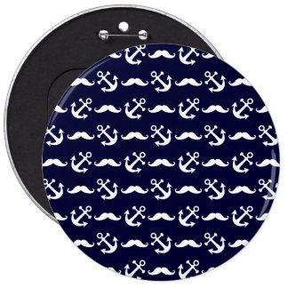 Het patroon van de snor en van het anker ronde button 6,0 cm