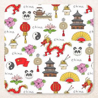 Het Patroon van de Symbolen van China Vierkante Onderzetter
