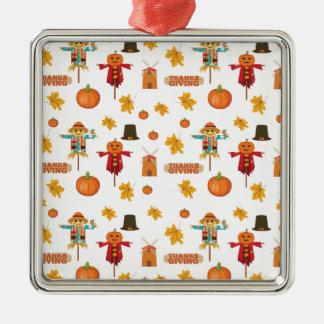 Het patroon van de Thanksgiving Zilverkleurig Vierkant Ornament