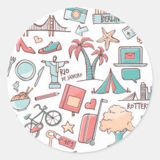 Het Patroon van de Toerist van de pastelkleur Ronde Sticker