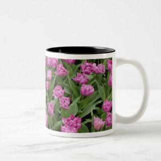 Het patroon van de tuin van tulpen, Tuinen Tweekleurige Koffiemok