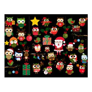 Het Patroon van de Uil van Kerstmis Briefkaart