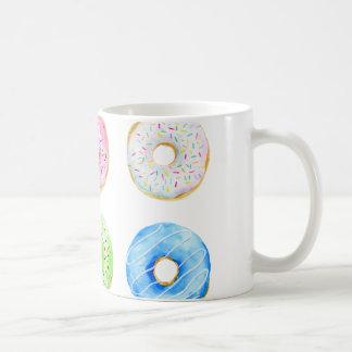 Het patroon van de waterverf donuts koffiemok