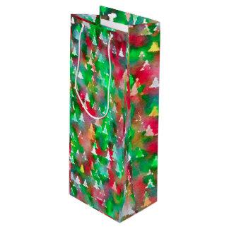 Het Patroon van de Waterverf van de kerstboom Wijn Cadeautas