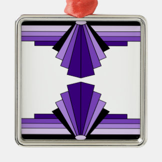 Het Patroon van het art deco in Purples Zilverkleurig Vierkant Ornament