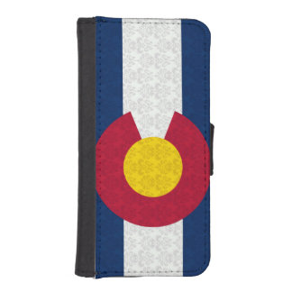 Het Patroon van het Damast van de Vlag van Colorad iPhone 5 Portefeuille Hoesjes