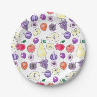 Het patroon van het fruit papieren bordje