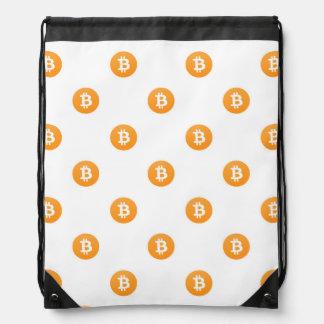 Het Patroon van het Logo van Bitcoin Trekkoord Rugzakje