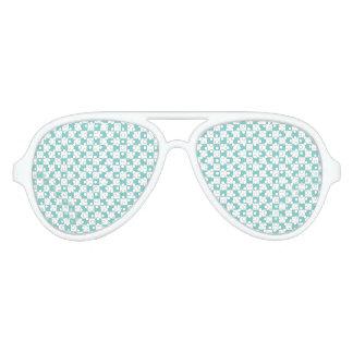 Het Patroon van het Schaakbord van Aqua Aviator Zonnebril