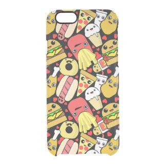 Het Patroon van het Snelle Voedsel van Kawaii Doorzichtig iPhone 6/6S Hoesje