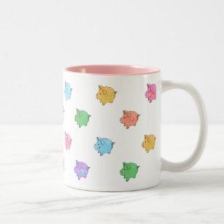 Het Patroon van het Varken van de pastelkleur Tweekleurige Koffiemok