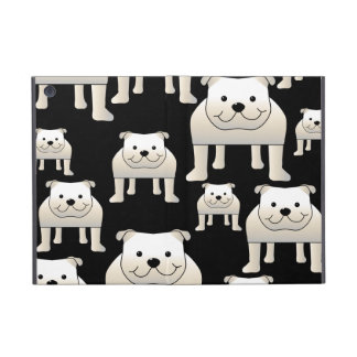 Het Patroon van honden. Witte Buldoggen op Zwarte iPad Mini Hoesje