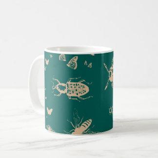 Het patroon van insecten, diepe opalen groen koffiemok