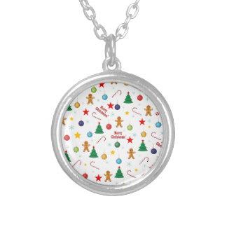 Het patroon van Kerstmis Zilver Vergulden Ketting