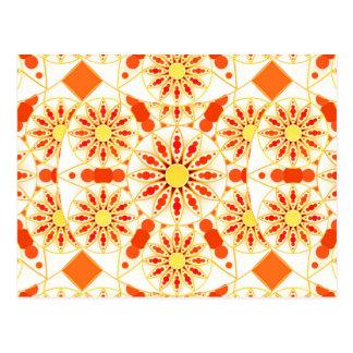 Het patroon van Mandala, baksteenrood, roest, goud Briefkaart