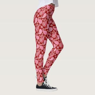 Het patroon van Paisley, Donkerrood, Roze en Wit Leggings