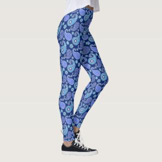 Het patroon van Paisley, kobaltblauw en wit Leggings
