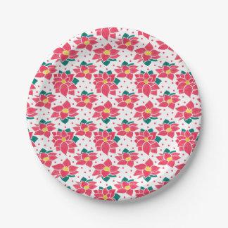 Het patroon van Poinsettia Papieren Bordjes