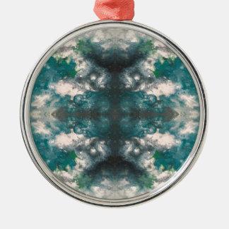 Het Patroon van Seafoam Zilverkleurig Rond Ornament