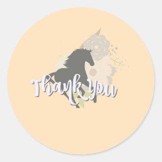 het perzik pony dankt u ronde sticker