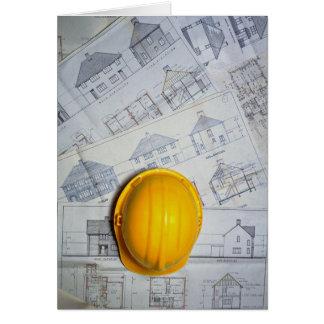 Het pet en de plannen van de architect kaart