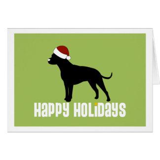 Het Pet van de Kerstman van de Stier van de kuil Wenskaart