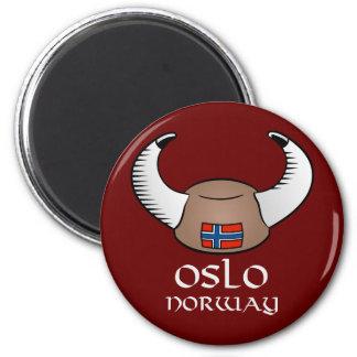 Het Pet van Oslo Noorwegen Viking Ronde Magneet 5,7 Cm