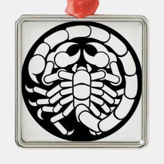 Het Pictogram van de Schorpioen van Schorpioen van Zilverkleurig Vierkant Ornament