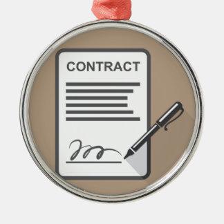 Het Pictogram van het contract Zilverkleurig Rond Ornament