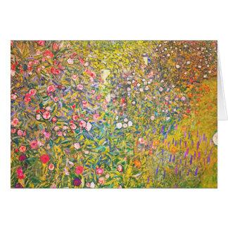 Het Pink Flowers Wenskaart van Gustav Klimt