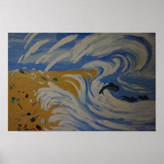 Het Plastiek van de Golven van het zee vaarwel Poster