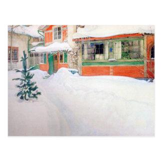 Het Plattelandshuisje van Carl Larsson in Sneeuw Briefkaart