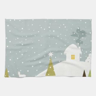 Het plattelandshuisje van Kerstmis Handdoeken