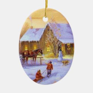 Het Plattelandshuisje van Kerstmis Keramisch Ovaal Ornament