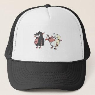 het plukken op de zwart schapencartoon trucker pet
