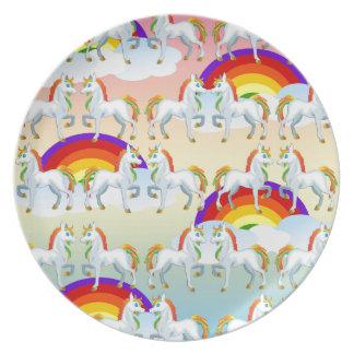 Het pony van de regenboog party bord