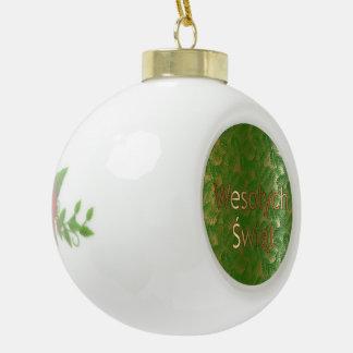 Het Poolse Ornament van de Bal van de Poinsettia v Keramische Bal Ornament