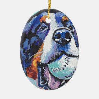 Het pop-art van de Hond van de Berg van Bernese Keramisch Ovaal Ornament