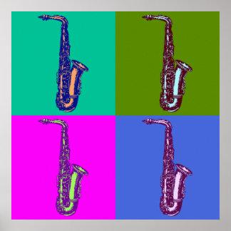 Het Pop-art van de Saxofoon van de alt Poster