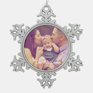 Het Portret van de familie Tin Sneeuwvlok Ornament
