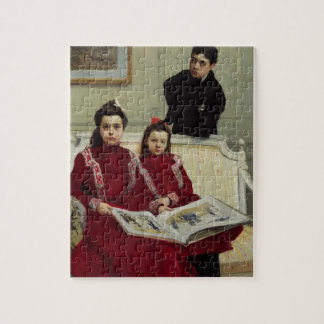 Het Portret van de familie van een Jongen en zijn  Puzzels