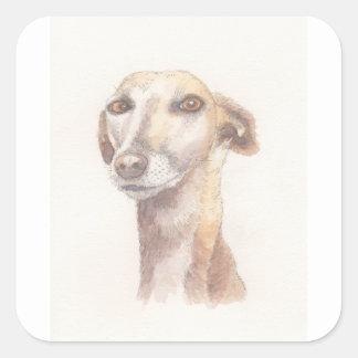 Het portret van de windhond vierkante sticker