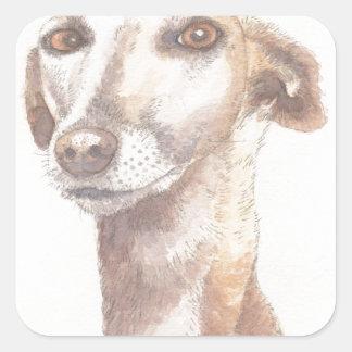 Het portret van de windhond vierkante stickers