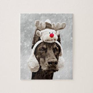 Het Portret van de Winter van Doberman Legpuzzel