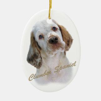Het Portret van het Spaniel van Clumber Keramisch Ovaal Ornament