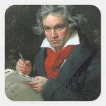 Het Portret van Ludwig van Beethoven Vierkant Stickers