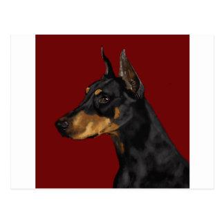 Het Portret van Pinscher van Doberman, de Druk van Briefkaart