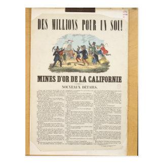 Het poster adverteren de goudmijnen in Californië Briefkaart