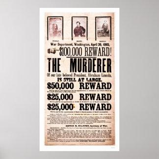 Het Poster van de beloning voor Moord 1865 van Lin